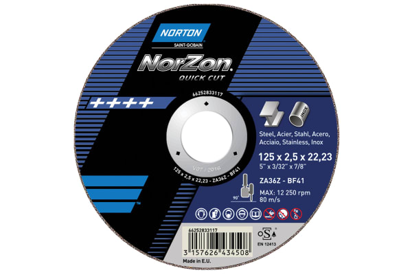 Product image for Norton Cutting Disc Aluminium Oxide Cutting Disc, 230mm x 2mm Thick, P60 Grit, 5 in pack, Norzon