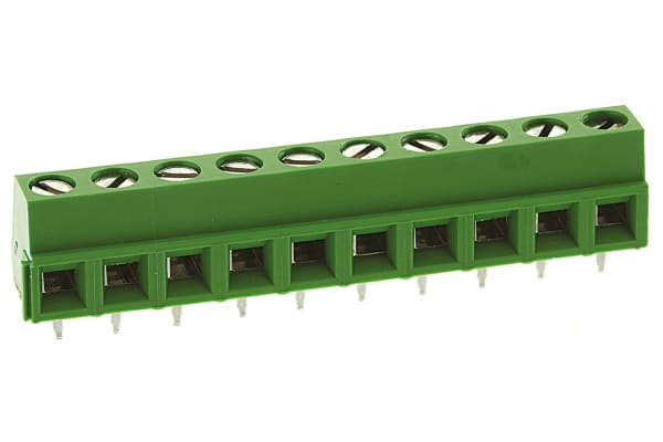 Product image for 10 way PCB screw terminal,5mm pitch