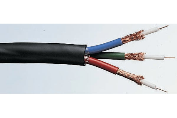 Product image for Black triple coaxial video cable 100m