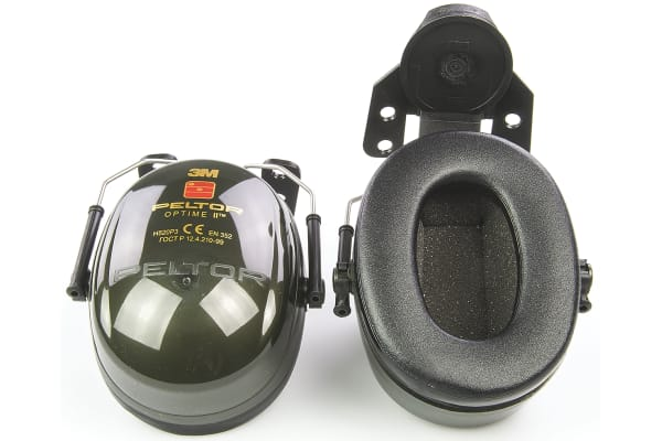 Product image for 3M PELTOR Optime II Ear Defender with Helmet Attachment, 30dB, Green