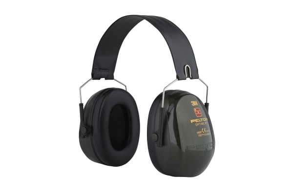 Product image for 3M PELTOR Optime II Ear Defender with Headband, 31dB, Green
