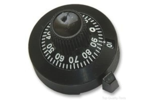 Product image for 15 turn Black dial with lock, 22.2 dia