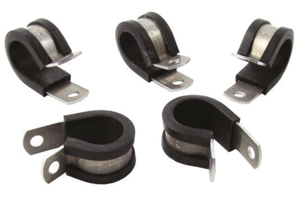 Product image for HellermannTyton Cable Clip Black Screw Aluminium Alloy, Chloroprene P Clamp, 33.3mm Max. Bundle