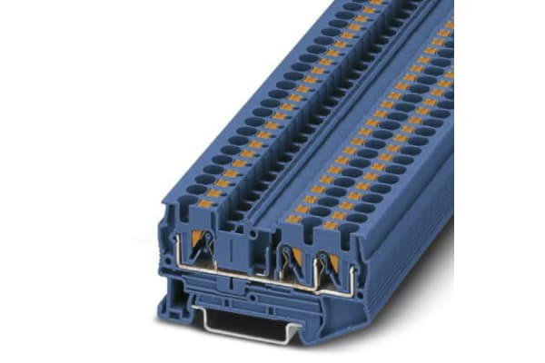 Product image for 4MM FEED THROUGH TERMINAL 3 WIRE-BLUE