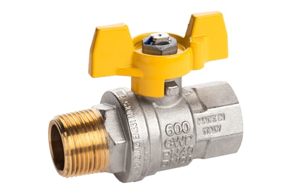 Product image for Gas T handle gas valve 3/4in M-F
