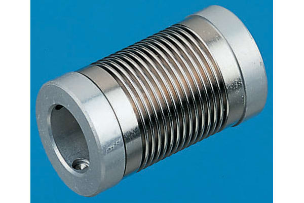 Product image for Huco Electrodeposited Nickel 12mm OD Bellows Coupling With Set Screw Fastening