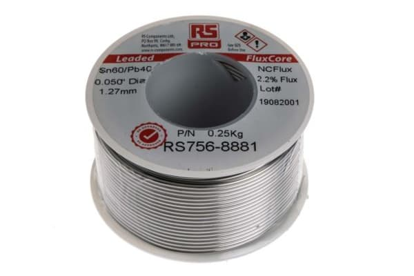 Product image for RS PRO 1.27mm Wire Lead solder, +183°C Melting Point