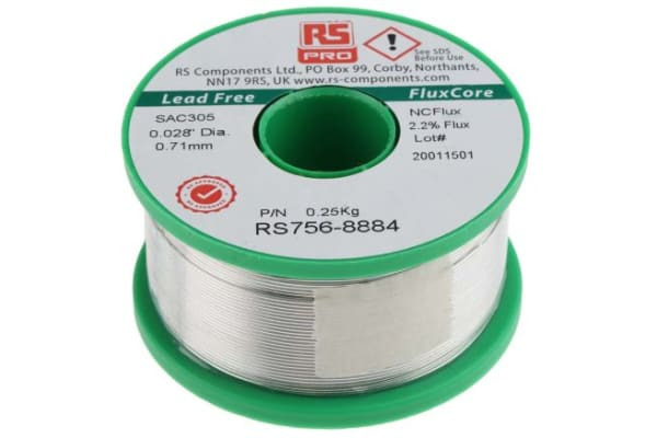 Product image for RS PRO 0.71mm Wire Lead Free Solder, +217°C Melting Point
