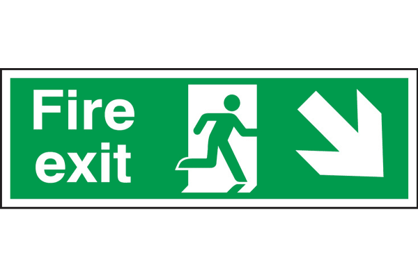 Product image for PP sign 'Fire exit' down right 150x450mm