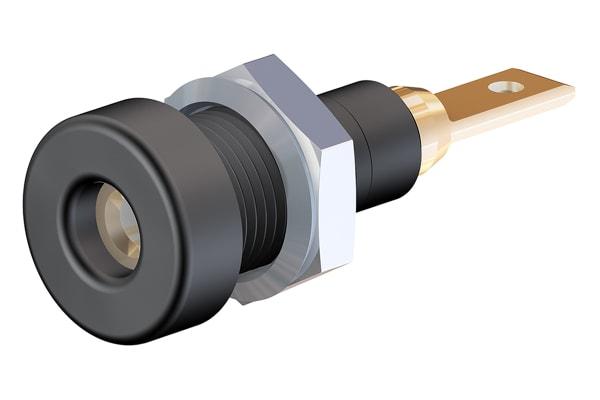 Product image for 2mm rigid panel mount socket,black