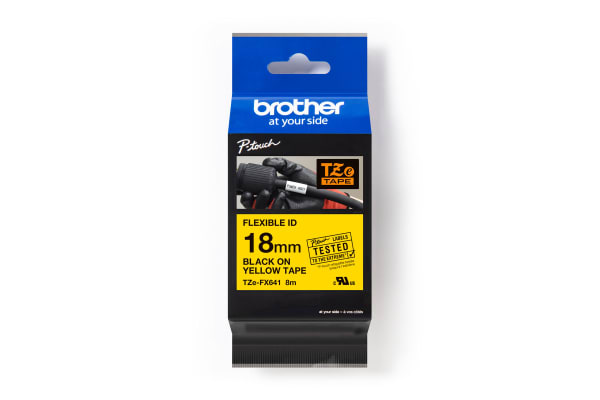 Product image for BROTHER TZ BLACK ON YELLOW 18MM