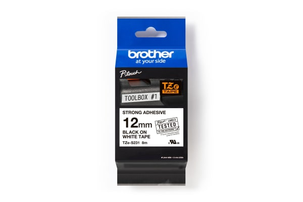 Product image for BROTHER TZ P-TOUCH BLACK ON WHITE 12MM
