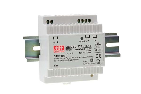 Product image for DR-30 series, 30 watt Din Rail 15Vdc