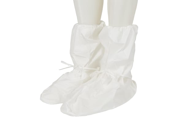 Product image for 3M White Disposable Shoe Cover, One Size, For Use In Agriculture, Automotive, Cleaning & Maintenance, Construction,