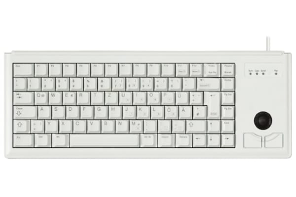 Product image for Cherry Trackball Keyboard Wired USB Compact, QWERTZ Grey