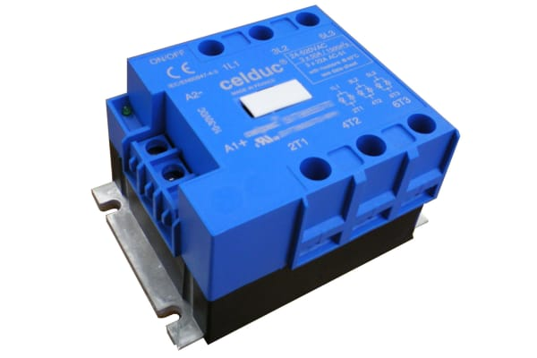 Product image for Celduc 95 A Solid State Relay, Zero Crossing, Panel Mount, Thyristor, 520 V ac Maximum Load