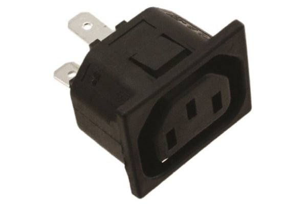 Product image for AC Female Power Inlet Connector,Snap-In