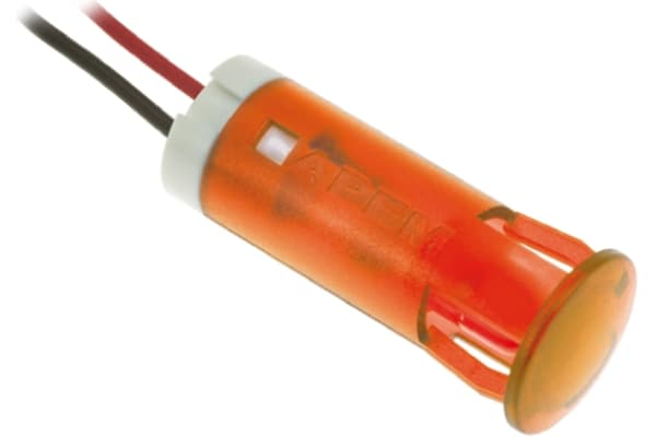 Product image for 10mm snap-in LED wires, orange 220Vac