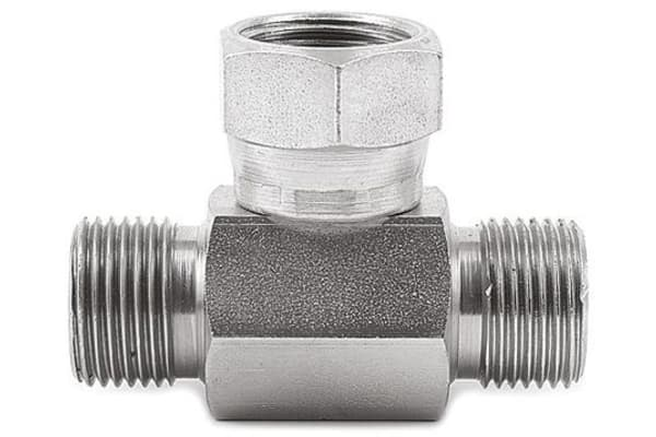 Product image for 1/4IN BSPP M-F-M SWIVEL NUT TEE ADAPTER