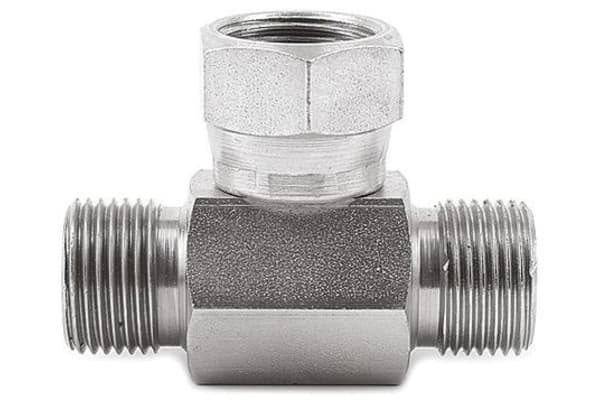 Product image for 1/2in BSPP M-F-M swivel nut tee adapter