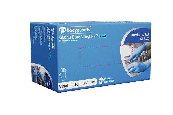 Product image for BLUE PF VINYL GLOVE AQL 4, XL