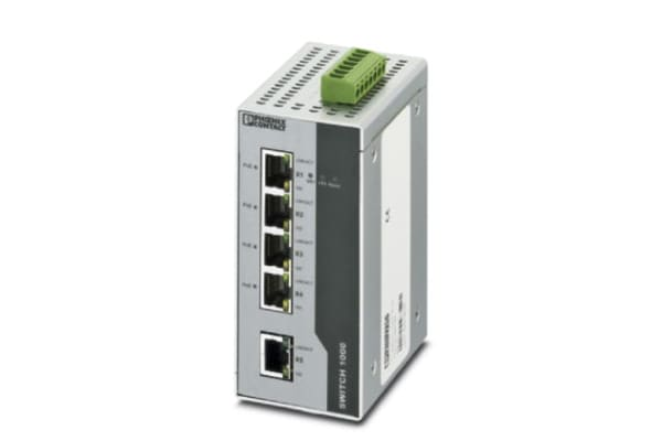 Product image for Phoenix Contact Ethernet Switch, 5 RJ45 port, 24V dc, 100Mbit/s Transmission Speed, DIN Rail Mount FL SWITCH 1001T-4POE