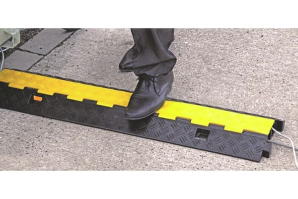 Product image for Vulcascot Cable Cover, 25 x 30mm (Inside dia.), 250 mm x 1m, Black/Yellow, 2 Channels
