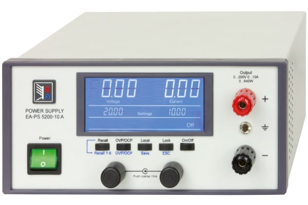 Product image for EA Elektro-Automatik Bench Power Supply, , 640W, 1 Output , , 0 → 200V, 10A