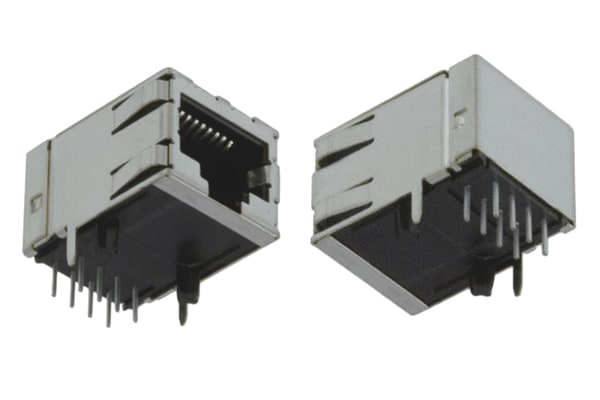 Product image for Cat 5 RJ45 shielded R/A PCB modular jack