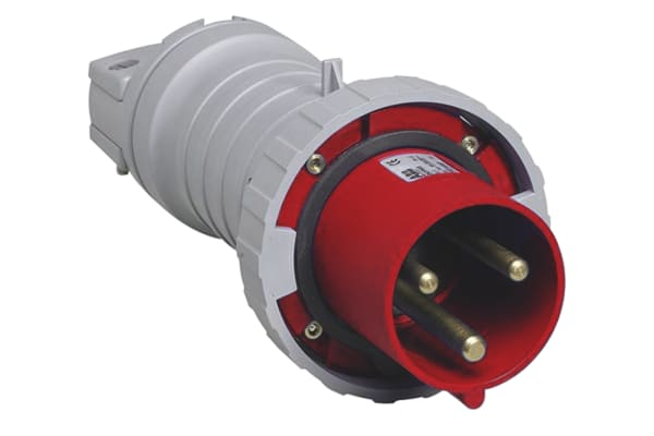Product image for IP67 3P+E  STRAIGHT PLUG 63A 6H RED