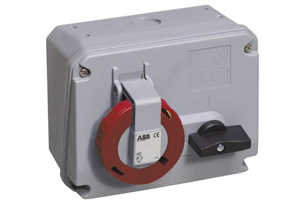 Product image for ABB Horizontal Switchable IP67 Industrial Interlock Socket 3P+N+E, 64A, 346 → 415 V