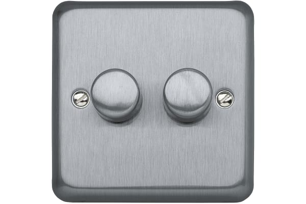 Product image for 2WAY 250W DOUBLE DIMMER BRUSHED CHROME