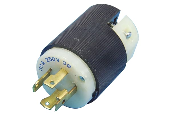 Product image for Hubbell USA Mains Plug NEMA L15-30P, 30A, Cable Mount, 250 V ac