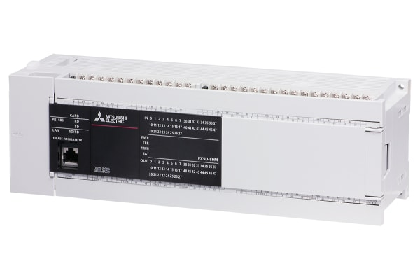 Product image for Mitsubishi FX5U PLC CPU - 40 Inputs, 40 Outputs, Inverter Communication, MELSEC Communication protocol (3C/4C Frames),