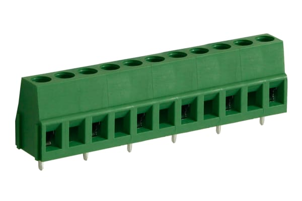 Product image for 10mm PCB terminal block, std profile, 6P