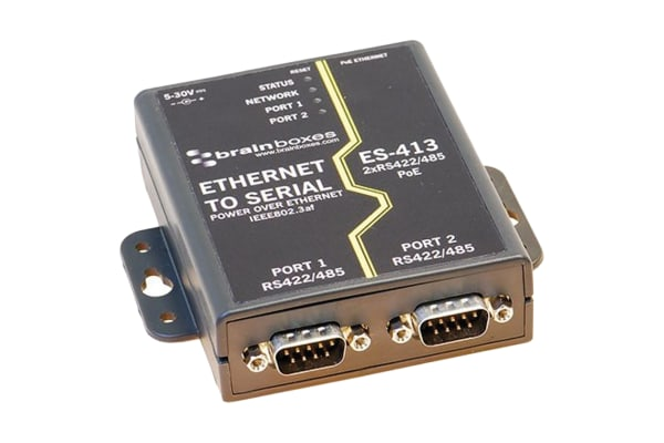 Product image for 2 PORT RS422/485 POE ETHERNET TO SERIAL