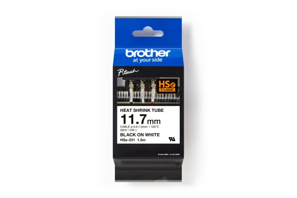 Product image for Brother HSe-231 Heat Shrink Cable Marker ,White ,3.6 → 7mm Dia. Range