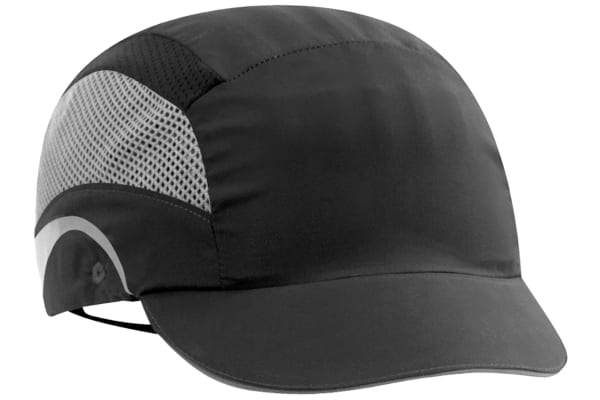Product image for JSP Black Short Peaked Bump Cap, HDPE Protective Material