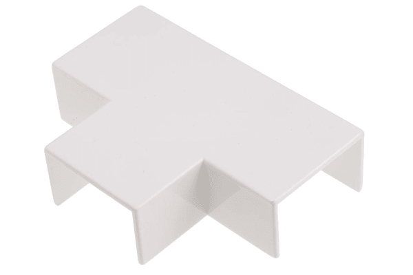 Product image for White PVC flat tee for 16x16mm trunking