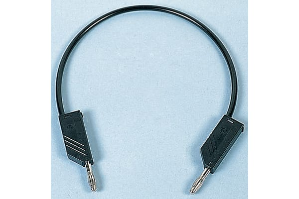 Product image for 0.5m black moulded test lead,4mm plug