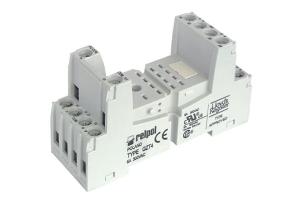 Product image for Relpol 4 Pin Relay Socket, DIN Rail for use with R4N Relay, T-R4 Relay