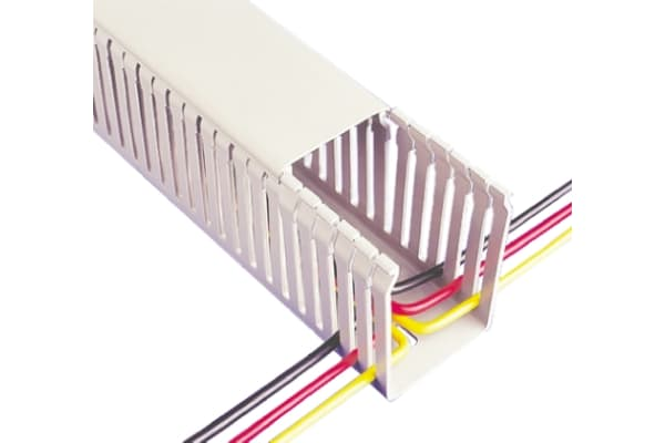 Product image for Betaduct Grey Slotted Panel Trunking - Open Slot, W50 mm x D100mm, L2m, Noryl