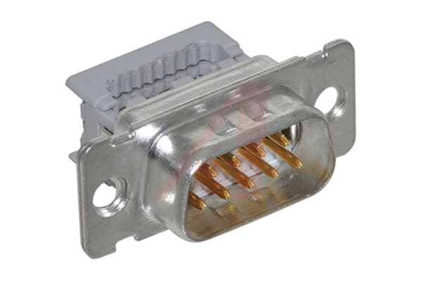Product image for 3M 8200 9 Way Right Angle Cable Mount D-sub Connector Plug, 1.27mm Pitch