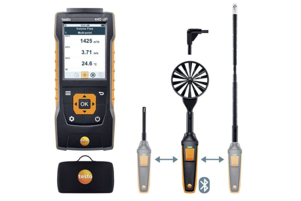 Product image for Testo Testo 440 Air Flow Kit2 Data Logging Air Quality Monitor, Battery-powered