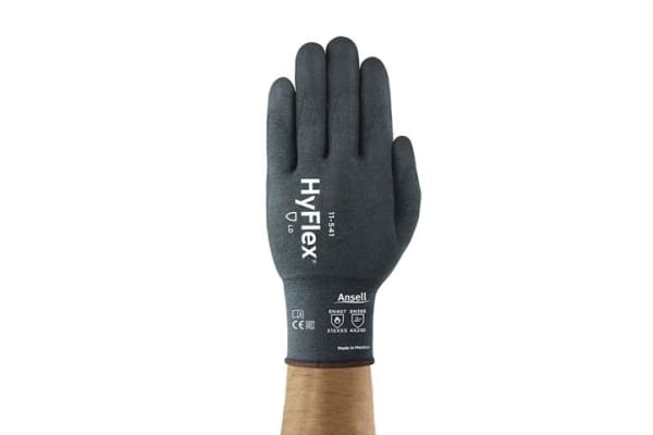 Product image for Ansell HyFlex, Grey Nitrile Coated Work Gloves, Size 8