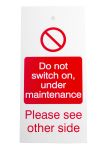 "Product image for Lockout Tag ""Do not switch..maintenance"""