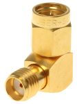 Product image for Right Angle 50Ω RF Adapter SMA Plug to SMA Socket 18GHz