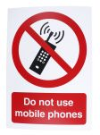 Product image for PP Rigid Plastic Prohibition Sign, Do Not Use Mobile Phones, English