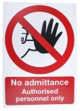 Product image for PVC label 'No admittance.only',400x300mm