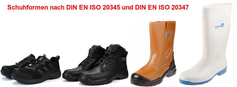 Schuhformen nach DIN EN ISO 20345 und DIN EN ISO 20347